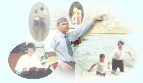 Collage of images of Pete and Dorcas Macinta in various aspects of ministry